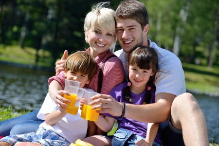 Happy young  family playing together with kids and eat healthy food  in a picnic outdoors Stock Photo - 14592727