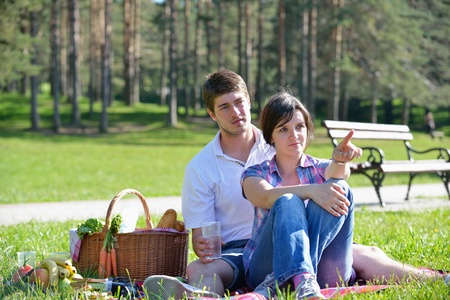 happy young romantic couple in love   having a picnic outdoor on a summer day photo