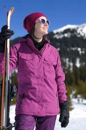 winter woman ski sport fun travel snow Stock Photo - 15423273