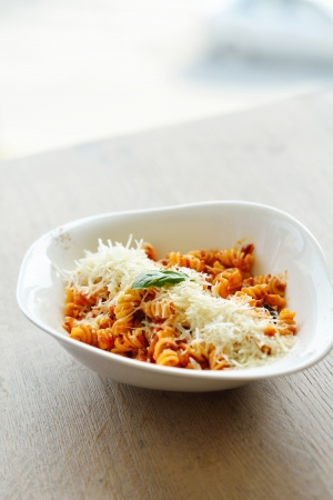 healthy italian food spaghetti pasta bolognese  with tomato beef sauce photo