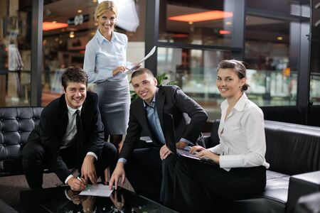 business people  team  group  on a meeting have success and make deal photo