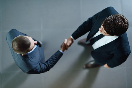 shakes hands: business people shaking hands make deal and sign contract