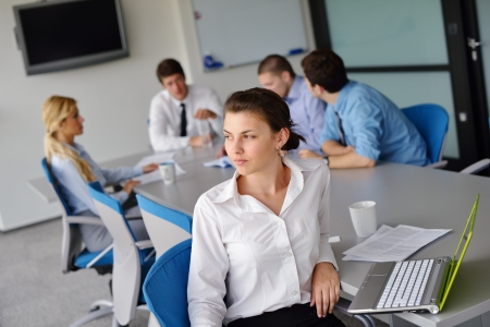 business woman  with her staff,  people group in background at modern bright office indoors Stock Photo - 15300902