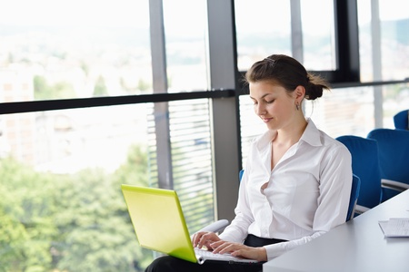 Young pretty business woman with notebook in the bright modern office indoors Stock Photo - 15276753