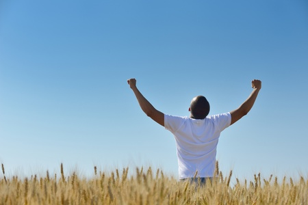 young man in wheat field representing success agriculture and freedom concept photo