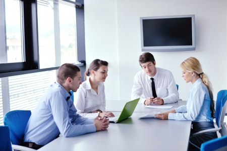 group business: Group of happy young  business people in a meeting at office Stock Photo