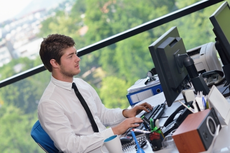happy young business  man work in modern office on computer Stock Photo - 15395908