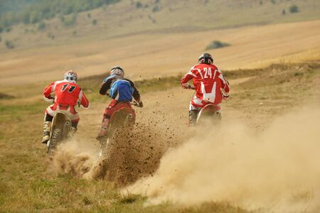 extreme danger: motocross bike in a race representing concept of speed and power in extreme man sport
