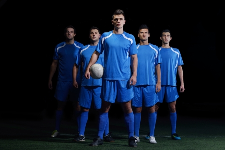 soccer world cup: soccer players team group isolated on black background Stock Photo