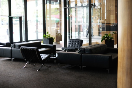office space: luxury hotel lobby interior with modern furniture