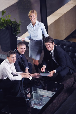 business people shaking hands make deal and sign contract Stock Photo - 16581808