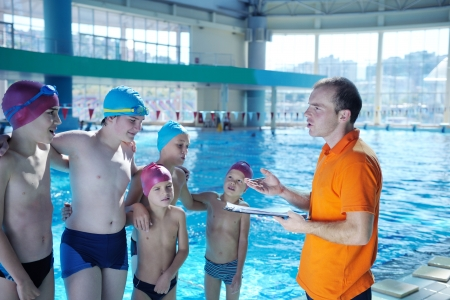 overweight child: happy chid have fun on swimming pool