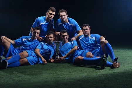 soccer players team group isolated on black background Stock Photo - 17368402