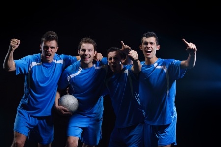 soccer players team group celebrating the victory and become champion of game while holding win coup Stock Photo - 17394598