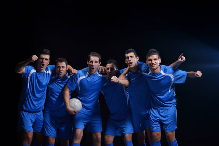 soccer players team group celebrating the victory and become champion of game while holding win coup Stock Photo - 17394595