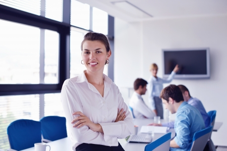 Group of happy young  business people in a meeting at office Stock Photo - 16581253
