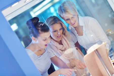 happy girls group  have fun while shopping in jewelry store Stock Photo - 16754046