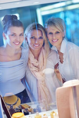 happy girls group  have fun while shopping in jewelry store Stock Photo - 16754047