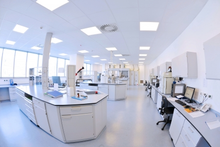 science lab: medical and health bright lab laboratory indoor with instruments test tubes
