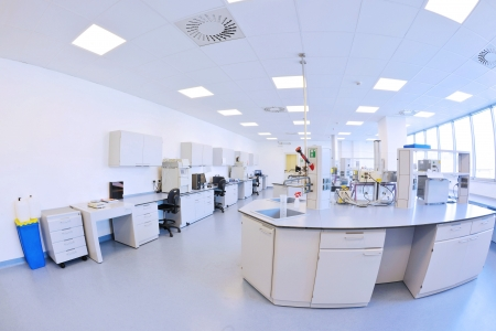 laboratory research: medical and health bright lab laboratory indoor with instruments test tubes