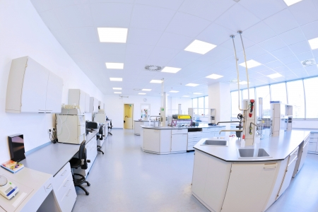factory floor: medical and health bright lab laboratory indoor with instruments test tubes