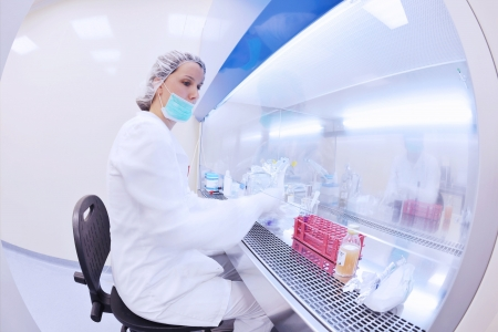 pharmacy technician: group of scientists working at the laboratory