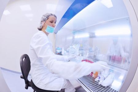 bata de laboratorio: grupo de cient�ficos que trabaja en el laboratorio Foto de archivo