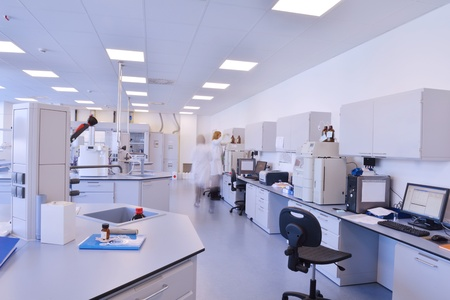 chemical laboratory: medical and health bright lab laboratory indoor with instruments test tubes