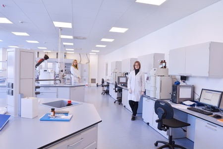 lab technician: group of scientists working at the laboratory