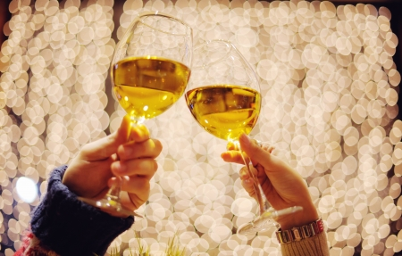 romantic evening date in hotel room, or supper in restaurant, happy couple with wine glass Stock Photo - 17057078