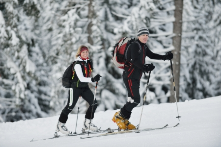 happy  ski people at mountaint  on winter have fun on snow sports photo