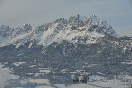 Ski lift gondola in Alps mountains at winter photo