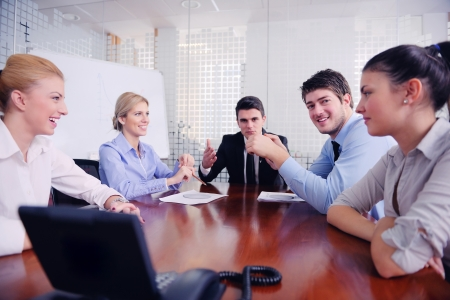 CONFERENCE TABLE: business people group have video meeting conference  at office