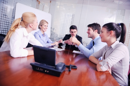 business people group have video meeting conference  at office photo