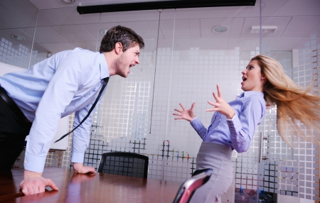 Angry business man screaming at employee in the office Stock Photo - 18320031