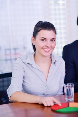 business woman  with her staff,  people group in background at modern bright office indoors Stock Photo - 18320027