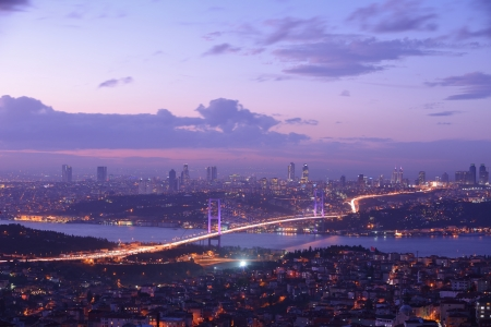 Istanbul Bosphore pont au coucher du soleil photo