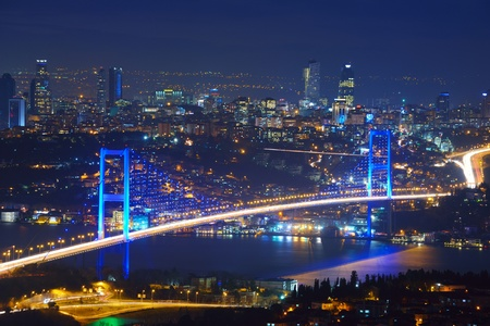 istanbul night: Istanbul Turkey Bosporus Bridge on sunset