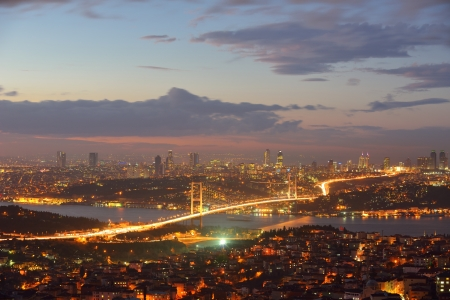 Istanbul Turkey Bosporus Bridge on sunset photo