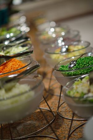 business dinner: catering buffet food indoor in luxury restaurant with meat colorful fruits  and vegetables Stock Photo