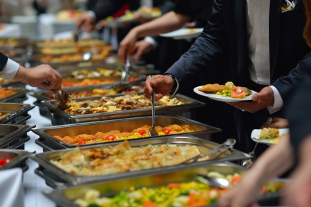 buffet food: people group catering buffet food indoor in luxury restaurant with meat colorful fruits  and vegetables