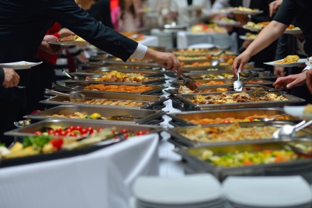 buffet lunch: people group catering buffet food indoor in luxury restaurant with meat colorful fruits  and vegetables