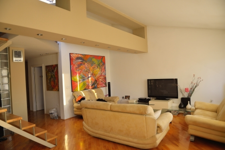 Modern living room with couches and TV in new  apartment photo