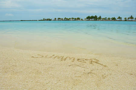 tropical beach nature landscape scene with white sand at summer photo