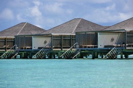 tropical water home villas resort  on Maldives island at summer vacation photo