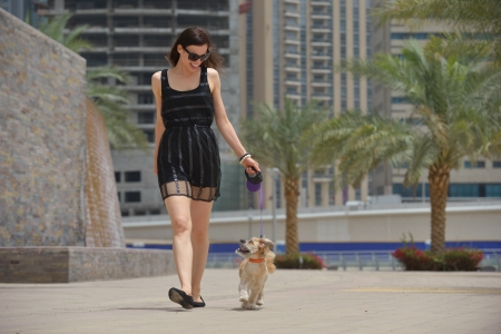 beautiful happy young  woman in black dress with cute small dog puppy have fun on street photo