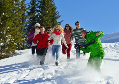 group of young adults: happy friends group  have fun at winter on fresh snow, healthy young people outdoor Stock Photo