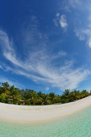 maldives island: tropical beach nature landscape with white sand at summer Stock Photo