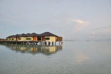 tropical water home villas resort  on Maldives island at summer vacation photo