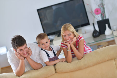 happy young family with kids in bright modern living room have fun and looking big flat lcd tv Stock Photo - 25289230